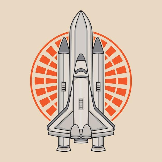 宇宙ロケットベクトルのロゴデザイン Premiumベクター