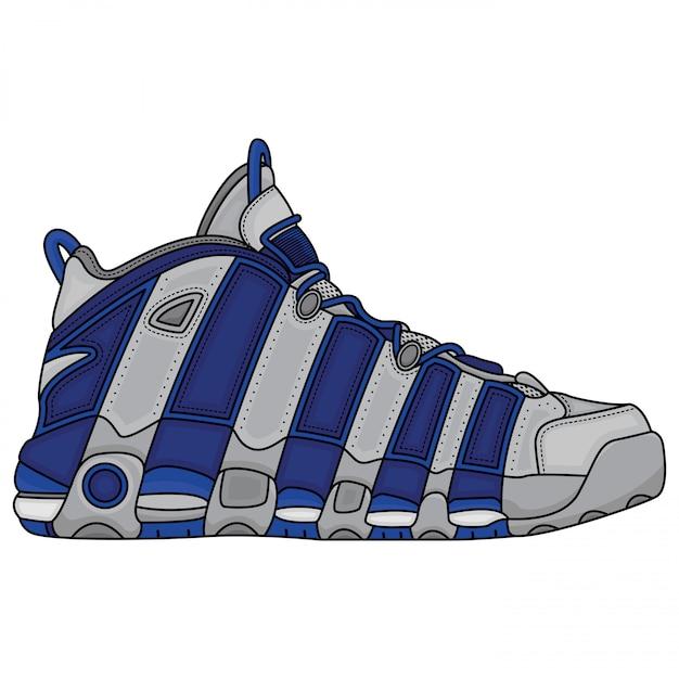 バスケットボールの青と白の靴 Premiumベクター