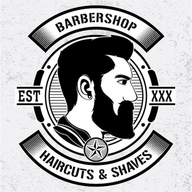 シンプルな理髪店のベクトルのロゴ Premiumベクター