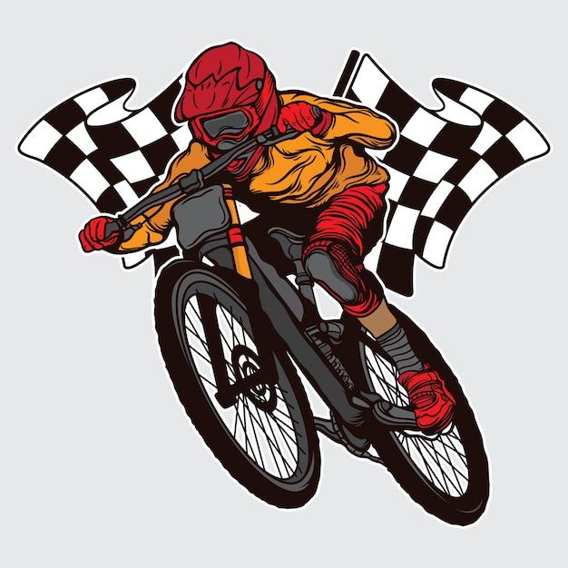 Чемпион по скоростному спуску на горных велосипедах Premium векторы