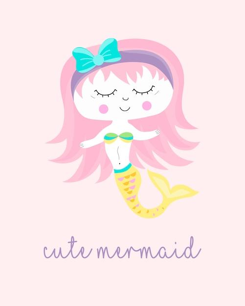 かわいい人魚のキャラクターが描かれたスタイルを手に。あなたのためにデザイン。 Premiumベクター