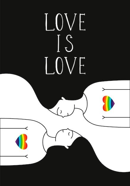 Лесбийская пара. ручной обращается векторные иллюстрации. Premium векторы