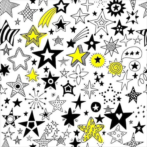 Бесшовные рисованной звезд. Premium векторы