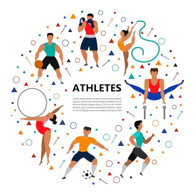 様々な種類のスポーツをしている運動の人々のセットです。 Premiumベクター