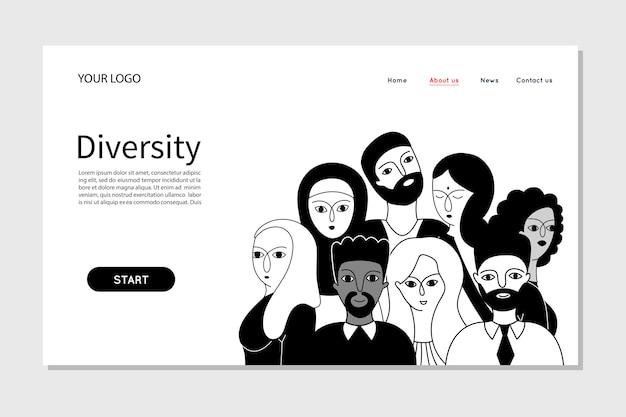 会社の人のチームの多様性を示す人々。 Premiumベクター