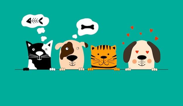 Собаки и кошки лучшие друзья. Premium векторы