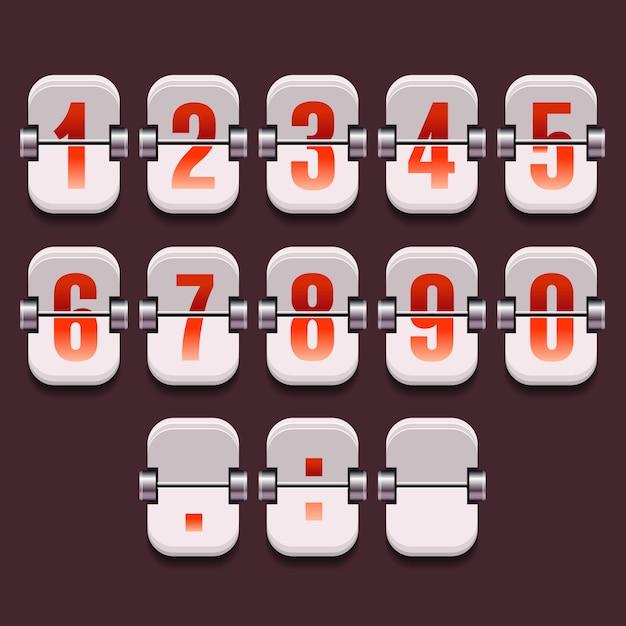 ベクトルの数字のセットを持つ機械式ダイヤル Premiumベクター