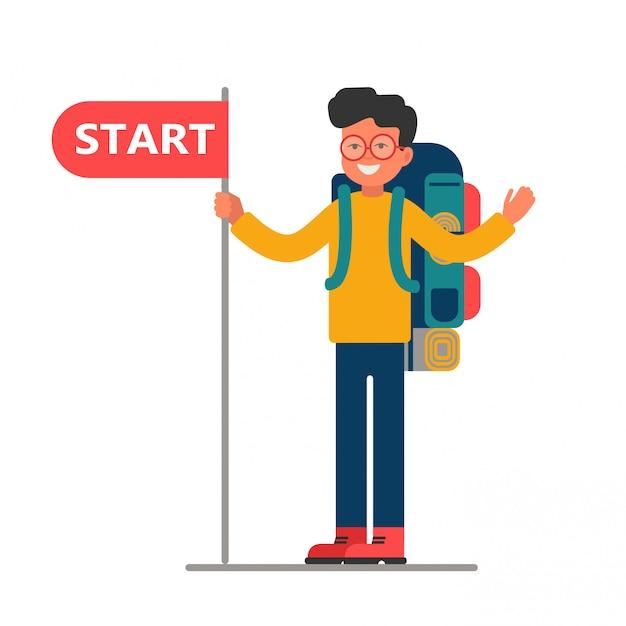 Молодой путешественник с большим рюкзаком держит старт Premium векторы