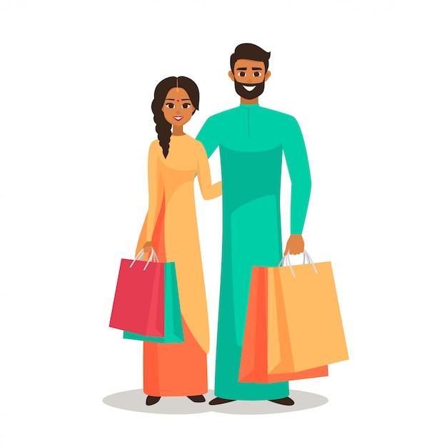 Индийцы с сумками Premium векторы