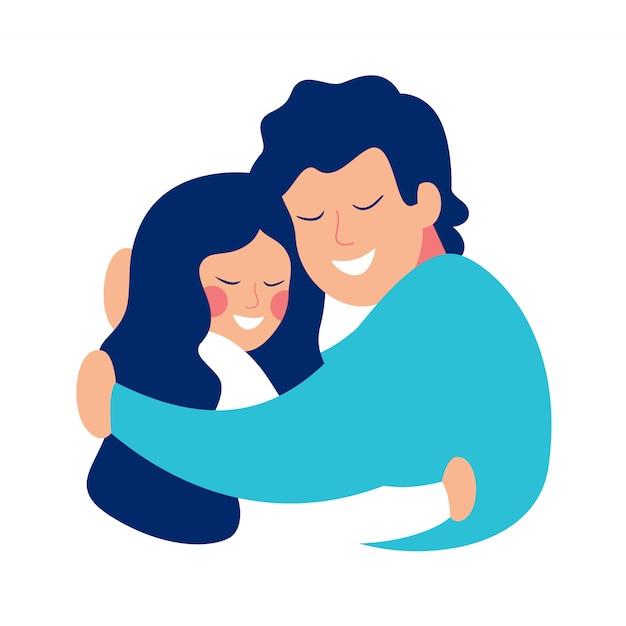 День отца открытка с отцом, обнимая его дочь с заботой и любовью. Premium векторы