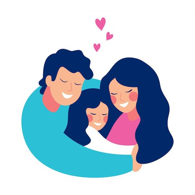 笑みを浮かべて男は彼の家族を愛と思いやりで抱きしめます。母と息子は父親の腕の中で Premiumベクター