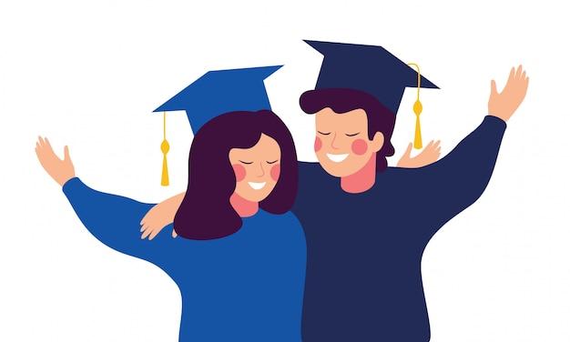 ガウンと帽子を身に着けている幸せな卒業生はお互いを受け入れます。教育、卒業および人々の概念 Premiumベクター