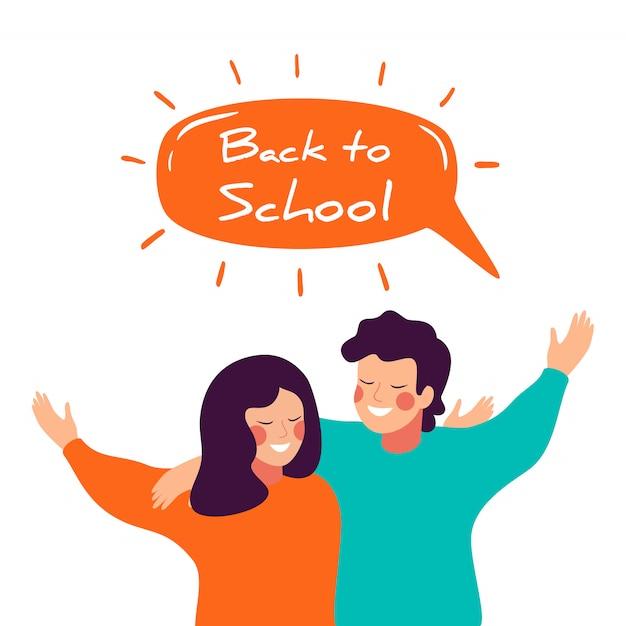 幸せな子供たちが抱き合って学校に戻るベクターデザイン Premiumベクター