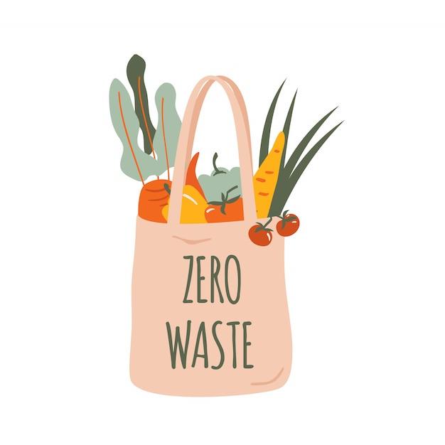 分離された野菜と再利用可能な食料品のエコバッグ Premiumベクター