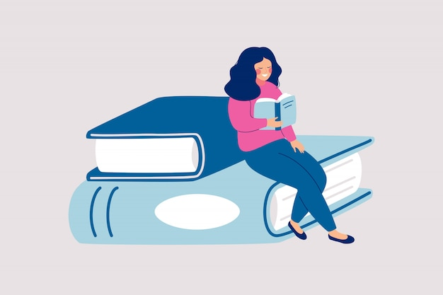 Читательница сидит на куче гигантских книг и читает. Premium векторы