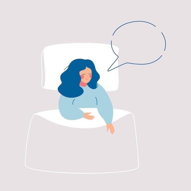 眠っている女性は、彼女のベッドの上の吹き出しで夢を見ています。 Premiumベクター