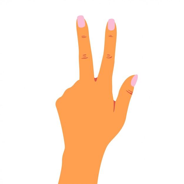 Рука женщины показывает знак мира с пальцами. Premium векторы
