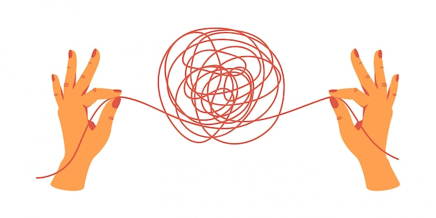 糸の端を保持している人間の手がもつれを解きます。手描きのベクトル図。 Premiumベクター