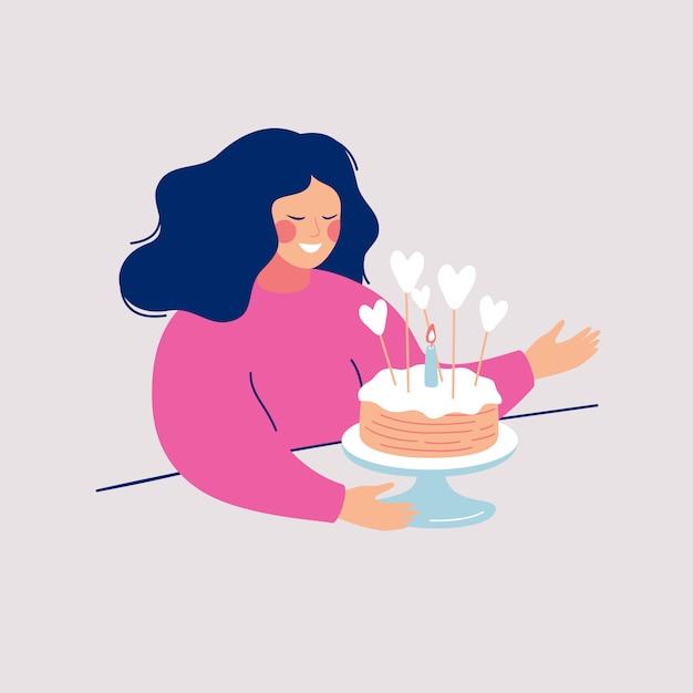 Счастливая молодая женщина собирается съесть вкусный пирог, украшенный глазурью, сердца и одна горящая свеча. Premium векторы