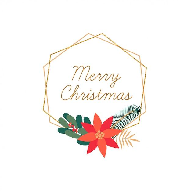 分離されたメリークリスマス手描きエレガントなフレーム Premiumベクター
