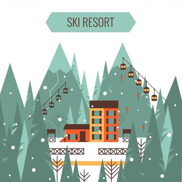 スキー場のリフト、カントリーハウス、山、森、スキートラックと冬の山の風景 Premiumベクター