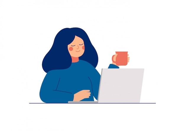 Молодая подростковая женщина использует ноутбук для работы или в чате с друзьями. плоский мультфильм векторные иллюстрации. Premium векторы
