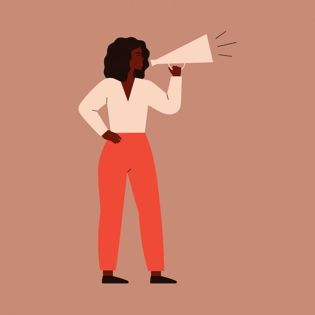 女性はメガホンに向かって話します。女性キャラクターが抗議のためにスピーカーに叫ぶ Premiumベクター