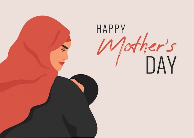 Открытка ко дню матери. арабская мать держит младенца сына на руках. Premium векторы