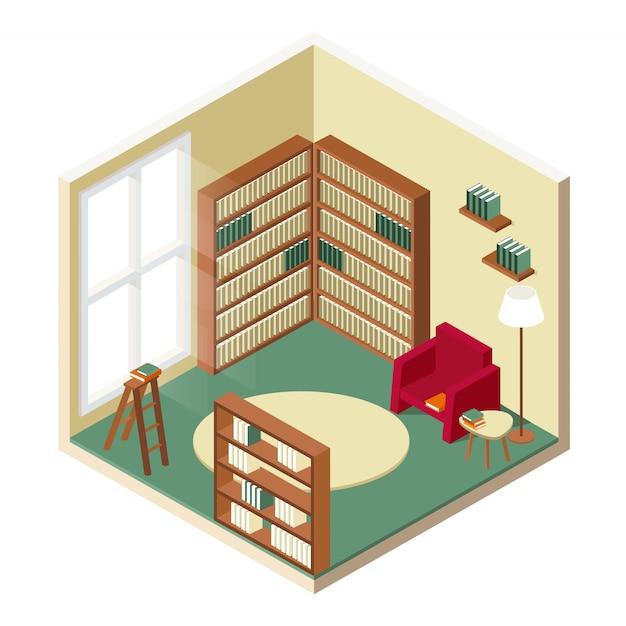 図書室等尺性デザイン Premiumベクター