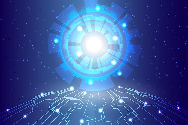 抽象的な技術背景こんにちはハイテク通信デジタル背景 Premiumベクター