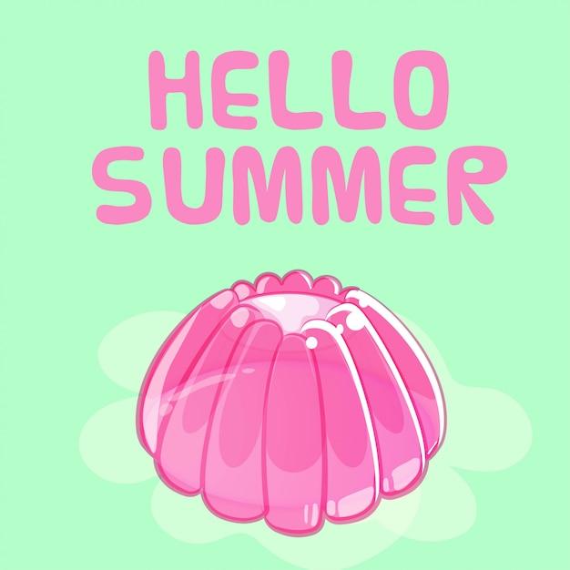 Красочные блестящие желе летняя открытка Premium векторы