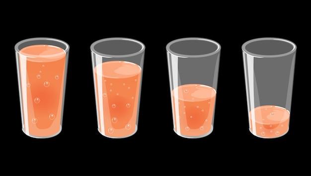 Комплект стекел с свежей иллюстрацией игристого сока. Premium векторы