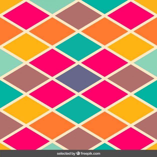 ヴィンテージ色菱形パターン 無料ベクター
