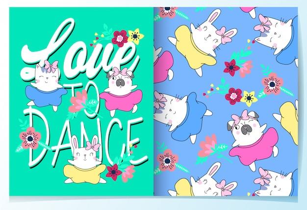手描きのかわいい猫、ウサギ&パグパターンセット Premiumベクター