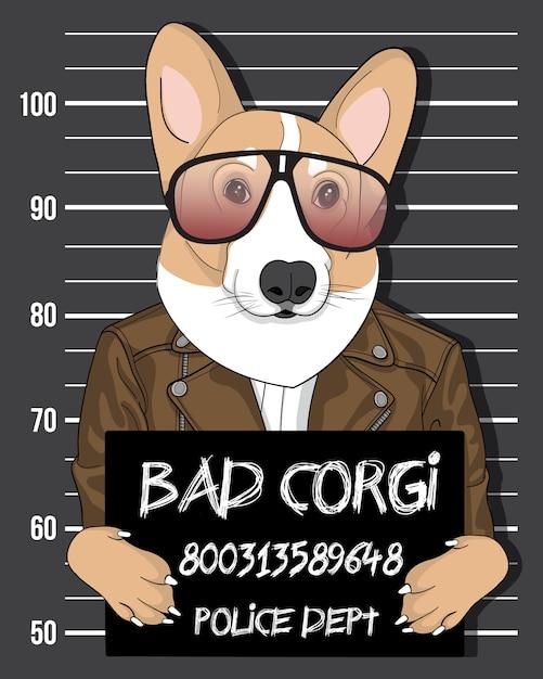 悪いコーギー、サングラスのイラストと手描きのかわいい犬 Premiumベクター