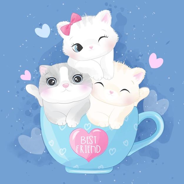 Милый котенок сора внутри иллюстрации чашки Premium векторы