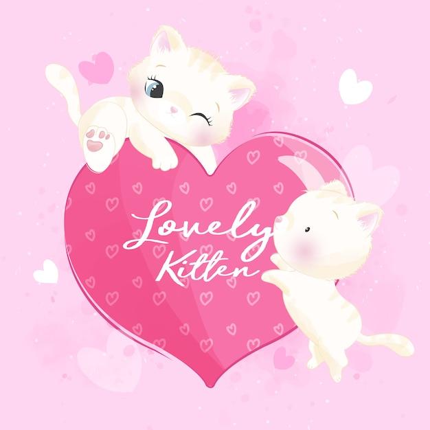 Милый котенок помета играя с иллюстрацией формы влюбленности Premium векторы