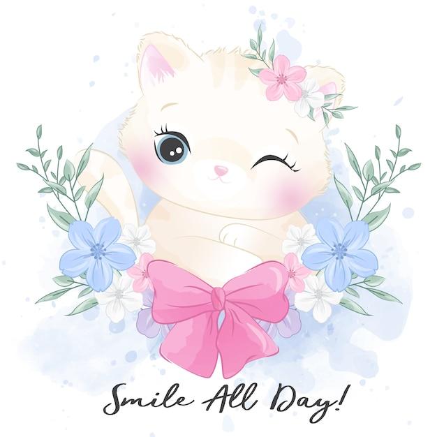 Милый маленький котенок с цветочным портретом Premium векторы