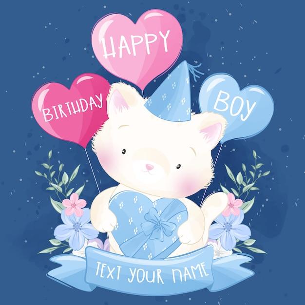 かわいい子猫は誕生日を祝います Premiumベクター