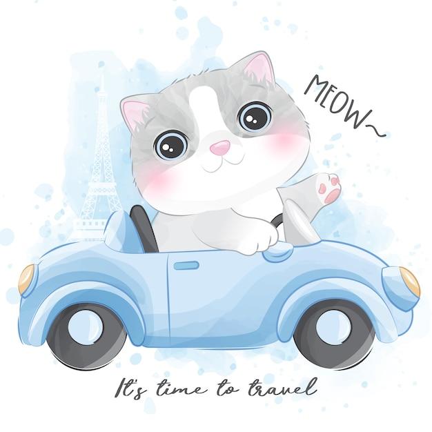 車に乗ってかわいい子猫 Premiumベクター