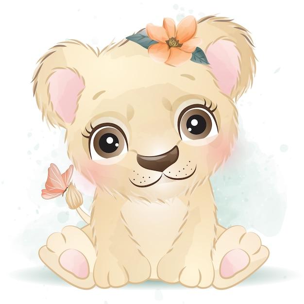 花とかわいい赤ちゃんライオン Premiumベクター