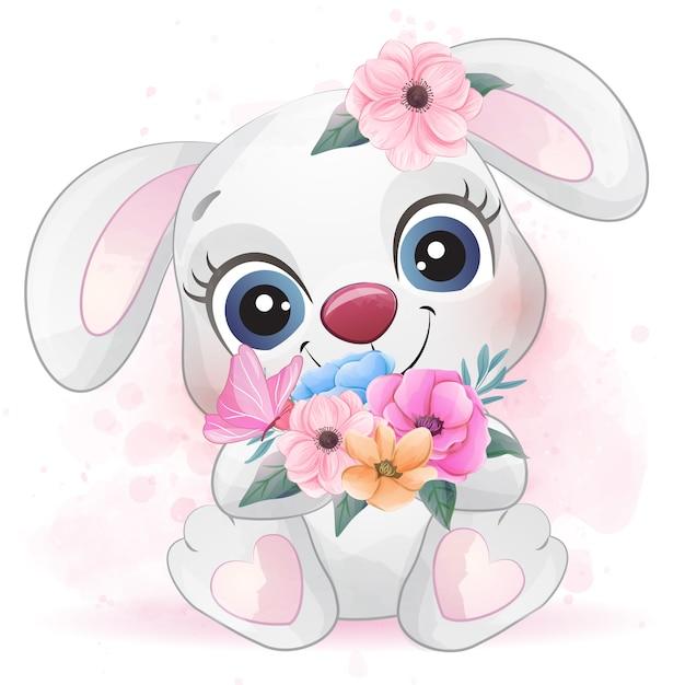 水彩画の効果を持つかわいいウサギ Premiumベクター