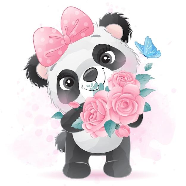 バラを持ってかわいいパンダ Premiumベクター