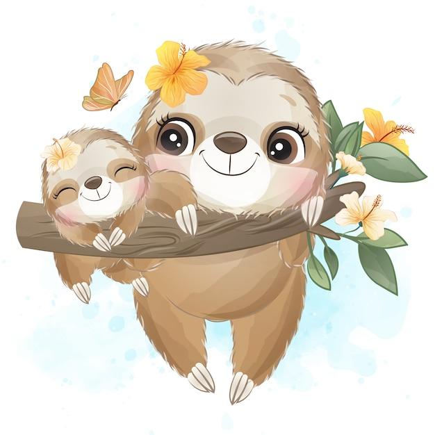かわいいナマケモノの母親と赤ちゃんの水彩画 Premiumベクター