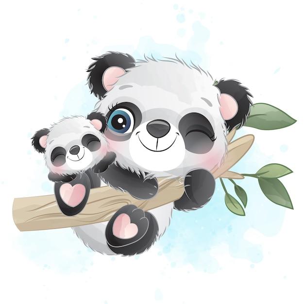 かわいいパンダの母親と赤ちゃんが木にぶら下がっています。 Premiumベクター
