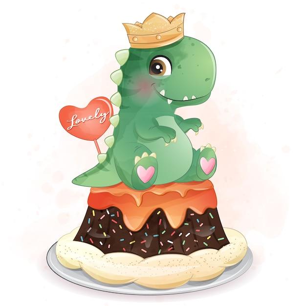 Милый динозавр сидит на торте иллюстрации Premium векторы