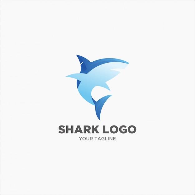 モダンなサメの青とグレーのロゴ Premiumベクター