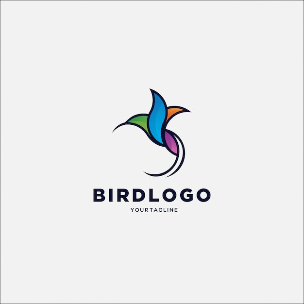 シンプルなハチドリのカラフルなロゴ Premiumベクター