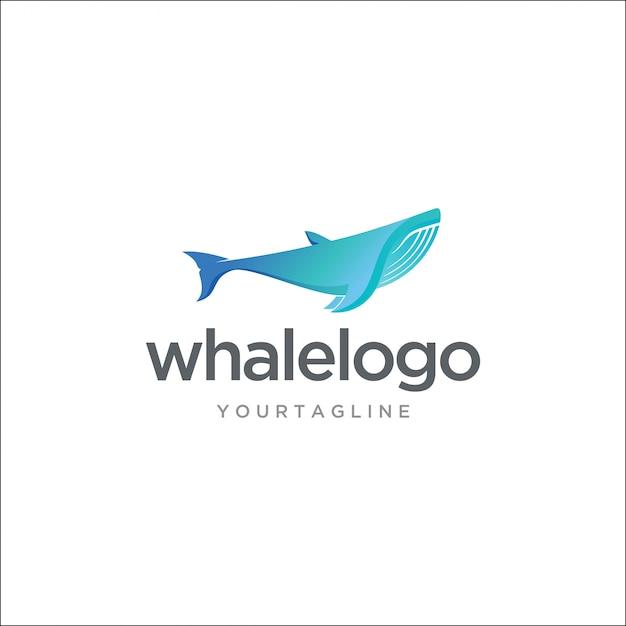 Современный горбатый кит с логотипом Premium векторы