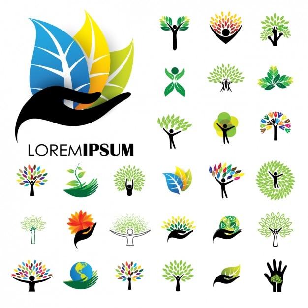 Коллекция природа логотипы Бесплатные векторы